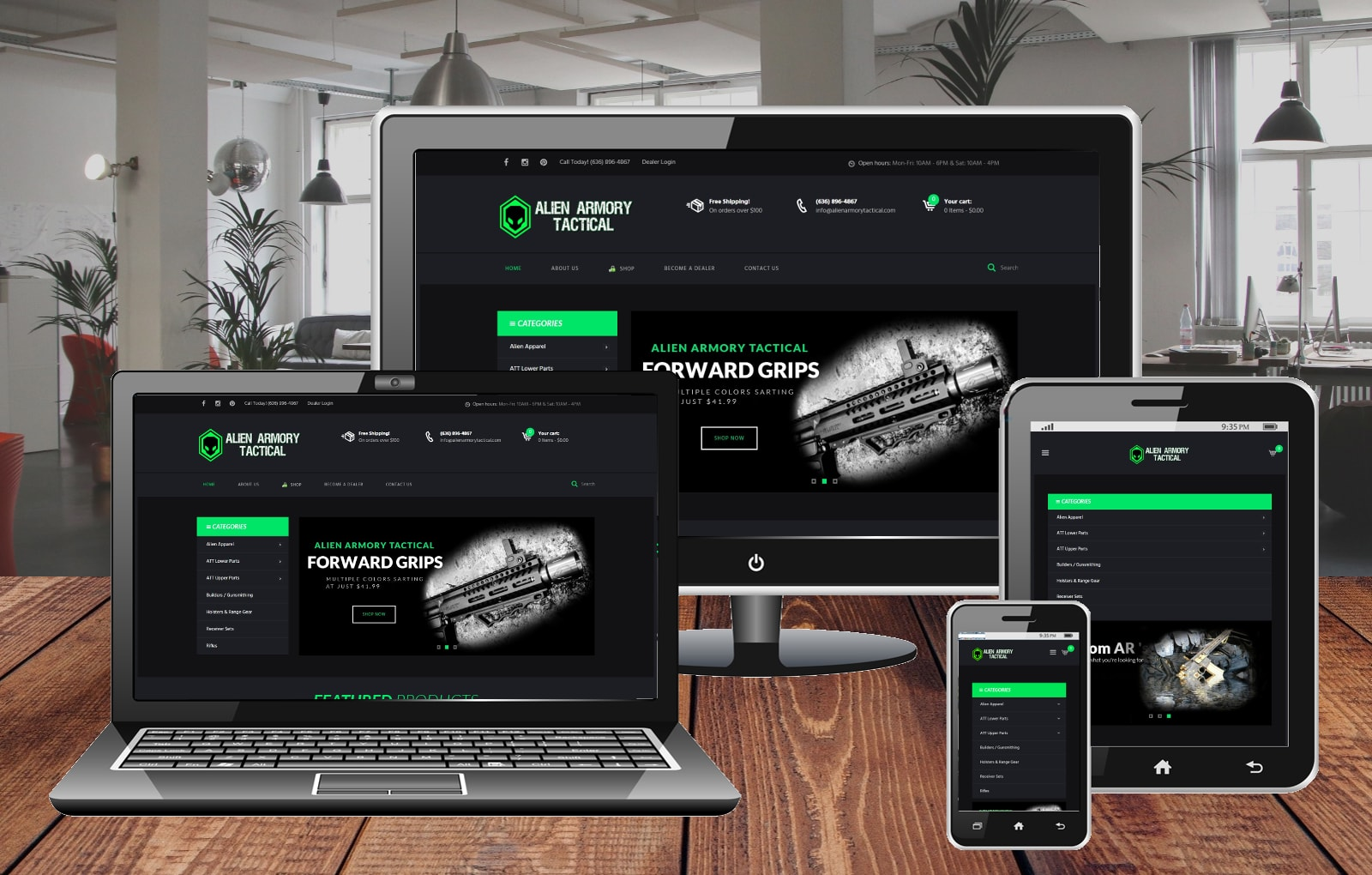 Website Design Portfolio Alien Armory Tactical