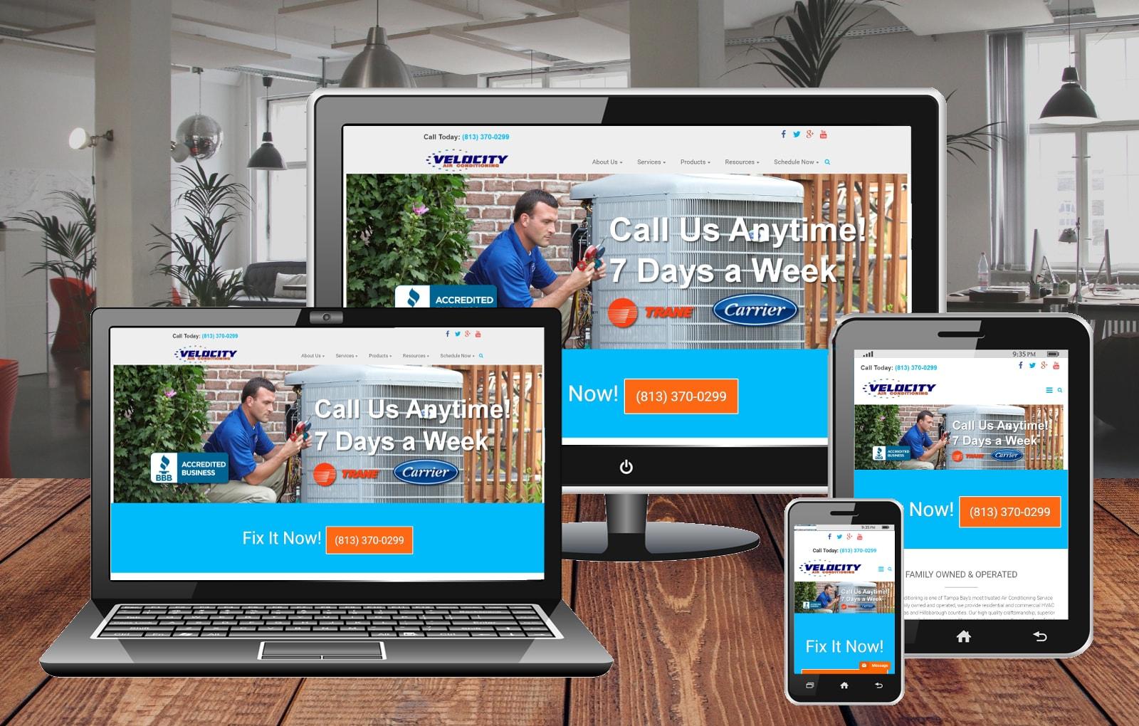Website Design Portfolio Velocity Air Conditioning